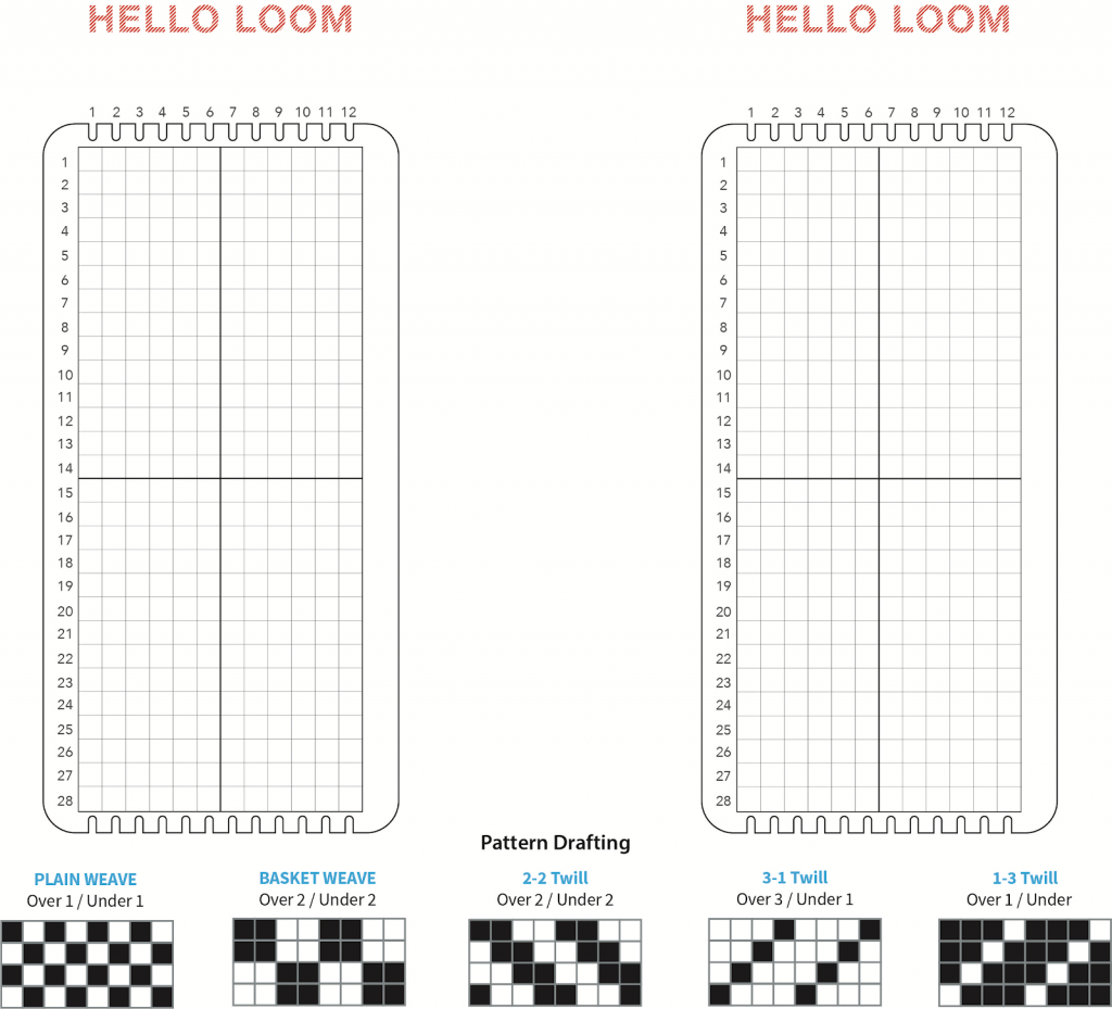 A starter guide by Fairbanks designed to help people develop their own weaving patterns. The black square indicates where the warp is over the weft, and the white square indicates where the weft is over the warp: binary!
