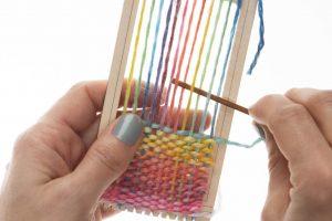Hello! Loom example weaving, multi-color, in process.
