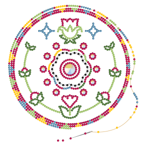 Circular graphic that looks like it's made of colorful beads. A string and needle show beads in the process of being added to the finished design.