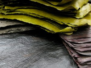 Handmade papers, linen and flax, pigmented and dyed