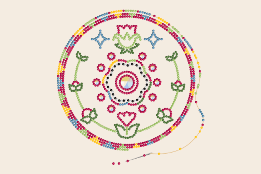 Graphic of circular beadwork in multi-colors with a floral motif. A needle is threading on loose beads at the bottom.