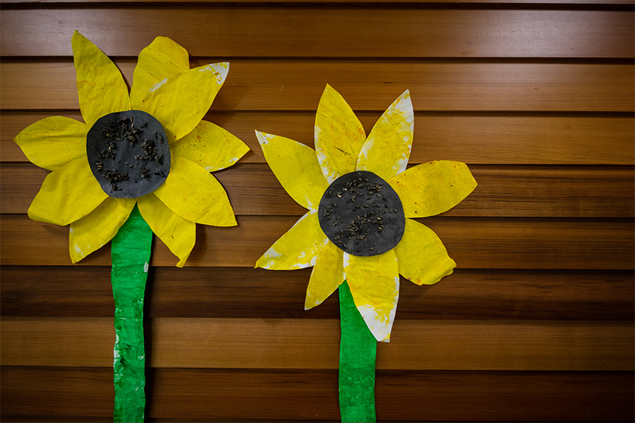 Two handmade sunflowers made out of paper on a wood paneled background.