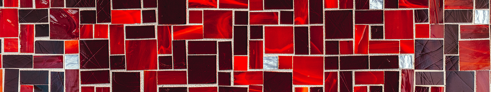 Red and white square tiles in the Robin's Nest Café.